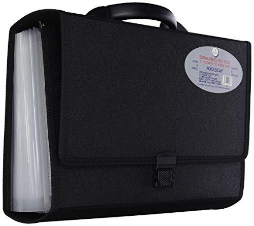 Cathedral Trieur à soufflets 21 poches Format papier ministre Avec onglets et boucle de fermeture rigide (Noir)