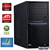 Captronic® (A4-4020-2GB-HD7480D-1TB-WinXP Pro) Windows XP Professional SP3 | DualCore Silent Office PC Front USB 3.0 AMD A4-4020 2x 3,20GHz (Turbo bis 3400MHz) | KINGSTON 2GB DDR3-1600 | 24x DVD-Brenner | 1000GB HDD SATA3 | ATI Radeon HD 7480 2GB HDMI/DVI/VGA | CardReader | 7.1 Sound | GigabitLAN | Design Gehäuse Schwarz