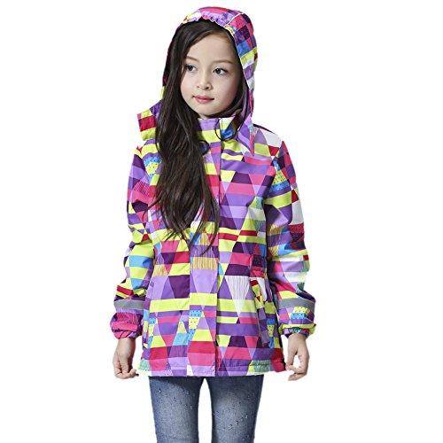 iBaste Regenjacke Kinder Mädchen Gefüttert Warm Wasserdicht Tailliert Softshell-Jacke mit Aufdruck Kinder Jacket mit Kapuze Regenmantel Herbst Winter Sportjacke Outdoor