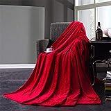WDFS Flanelldecke Decke einfarbig Weiches Flauschiges Bett Sofa Couch Luxus Flauschige Decke doppelseitige Plüsch Bett wirft Bettdecke Decke für Home Office(180 x 220cm,rot)