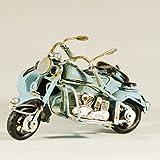 Metall Collectible hellblau Seite Motorrad Miniatur–Retro Industrie Deko Figur–Metall Replica Deko Figur Fahrrad Modell–Collectible Motorrad–Tischplatte Motorrad–Retro Seite Bike Ornament