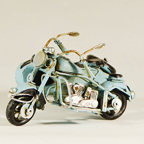 Metall Collectible hellblau Seite Motorrad Miniatur - Retro Industrie Deko Figur - Metall Replica Deko Figur Fahrrad Modell - Collectible Motorrad - Tischplatte Motorrad - Retro Seite Bike Ornament