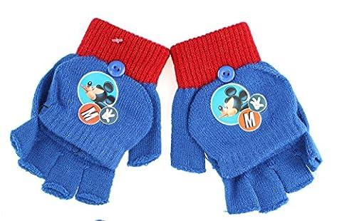 Gants - Mitaines 2 en 1 enfant Mickey Bleu Taille unique 3/6ans (Bleu)