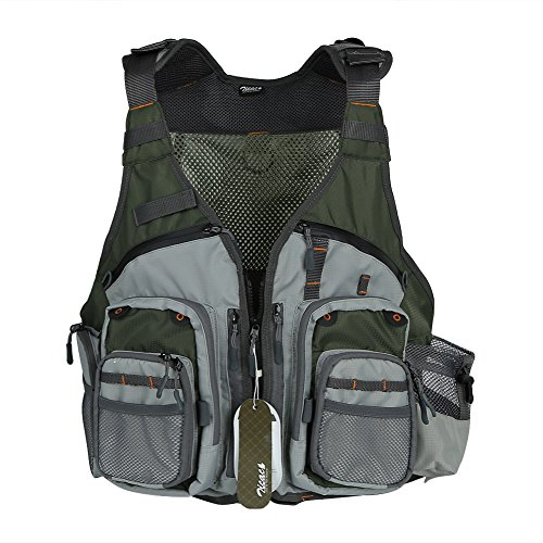 Zicac Camping Jagd Fotografie Multitasche Atmungsaktive Mesh Fishing Weste Schulterangeltasche Angelweste Größe Einstellbar (Grau)