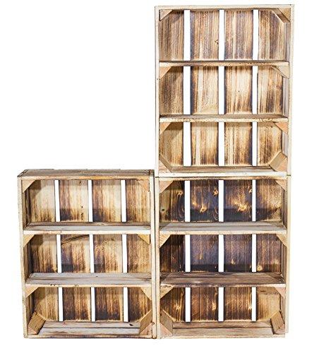 3er Set Regalkiste Flach mit 3 Fächern in geflammter Optik - Obstkiste mit Regalboden flambiert - neue flammbierte Holzkisten als Gewürzregal Wandregal Kosmetikschrank Badregal Küche 50x40,5x16cm