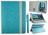 Emartbuy Folio Étui Coque Portefeuille Universel 9 - 10 Pouces Turquoise Multi-Angle Avec fentes Pour Cartes, Elastique Gris & Stylet, Convenant Aux Modèles Listés Ci-dessous