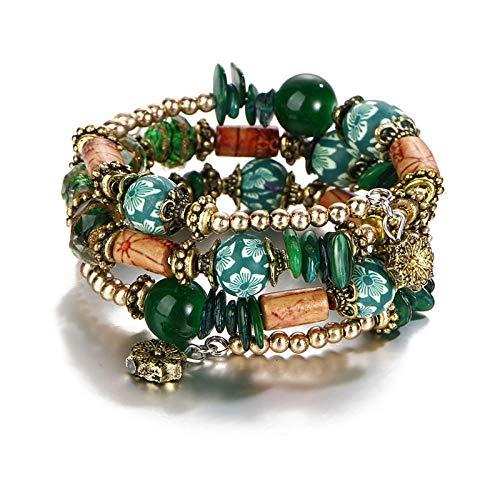 TTCI-RR Bead Armband mehrschichtige grüne Farbe Charm Armbänder für Frauen Mädchen Gold Farbe Perlen Armbänder & Armreifen Ethnische Partei Schmuck Geschenk @ A