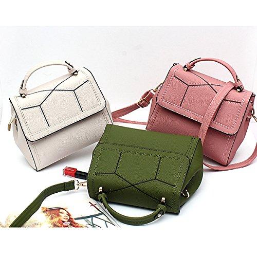 Mode Gitter PU-Leder-Umhängetasche Handtaschen-Schulter Top-Griff Tasche Für Frauen Multicolor Grey
