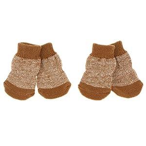 MagiDeal 4pcs Chien Chiot Chat Chaussettes d'Hiver Chaudes Chaussures Pantoufles Antidérapantes Mignonnes