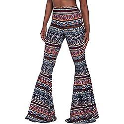 JiXuan Pantalones de Flama Boho Mujeres Bohemio Moda Suelta Pantalón Largo Imprimir Pantalones Anchos de la Pierna Campana Leggings Inferiores Pantalones Hippie