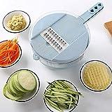Cortador de verduras 4cuchillas Multi Función rejilla de acero libre Mandolina Profesional verduras rallador desmontable patatas Schneider manual comer Slicer Cortador de fruta vegetal Slicer Azul