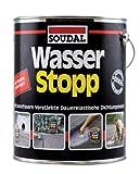Soudal Wasser Stopp, mit Kunststofffasern verstärkte Beschichtung für trockene und nasse Untergründe, grau, Eimer: 4kg