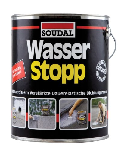 Soudal Wasser Stopp, mit Kunststofffasern verstärkte Beschichtung für trockene und nasse Untergründe, grau, Dose: 750g (Abdichten Sofortige)