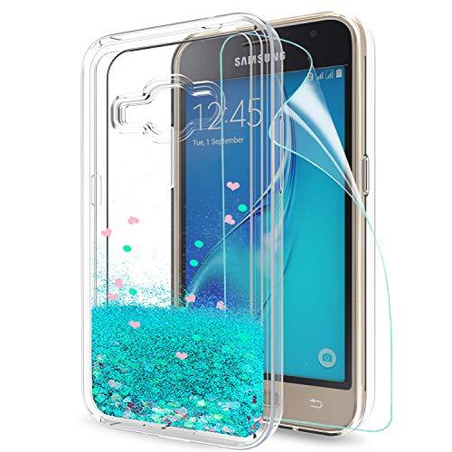 LeYi Hülle Galaxy J1 2016 Glitzer Handyhülle mit HD Folie Schutzfolie,Cover TPU Bumper Silikon Treibsand Clear Schutzhülle für Case Samsung Galaxy J1 2016 (SM-J120F) Handy Hüllen ZX Turquoise