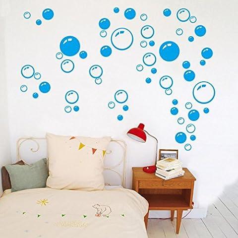 Kingko® DIY Removable Runde Bubbles Kreis Tapete Wand Badezimmer Haus-Fenster-Aufkleber Aufkleber (Blau)