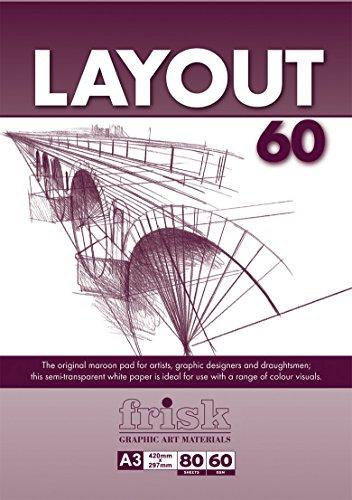 Frisk Layout Zeichenpapier, A3, halbtransparent, 60g/m², 80 Bögen, Weiß