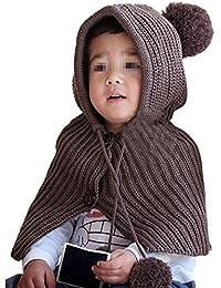 Sombrero Bufanda Bebé,TININNA Otoño Invierno Niños Niñas Lana Punto Mantener Caliente Conjunto Poncho con Capucha Gorras y Bufanda Encantador-Marrón