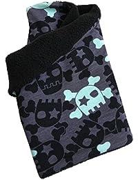 WOLLHUHN Warmes Halstuch, Schlupfschal schwarz-mint mit coolen Skulls für Mädchen und Jungen, Innenseite aus Fleece 20150915