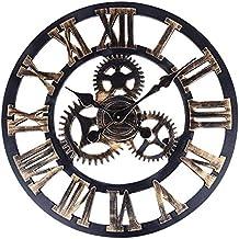 Orologio da Parete Design Vintage Retrò in Legno e Alluminio con Numeri Romani 3D Ingranaggio