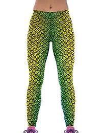 Lovelife' Women Fish Scales Digital Printed Yoga Workout Capri Leggings