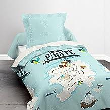 Déco-de-maison–Juego de cama (funda nórdica de 140x 200cm + funda de almohada–karaibe, pequeño pirata