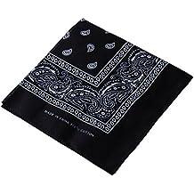Pañuelo para la cabeza multifuncional estilo retro con estampado de cachemira; también se puede usar como diadema, velo, máscara para montar en bicicleta., mujer hombre, negro