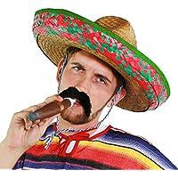 Da uomo messicano Sombrero verde + nero baffi + jumbo Cigar accessorio per costume baffi cappello vacanza paglia addio al celibato