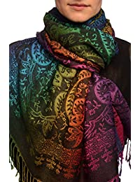 Mirrored Ombre Paisleys On Black Pashmina Feel With Tassels - Black Pashmina Floral Scarf