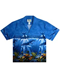 KY's | Original Hawaiian Shirt | For Men | S - XXL | Short-Sleeve | Front-Pocket | Hawaiian-Print | Whales | bleu