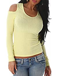 Damen Pullover Pulli Sweater schulterfrei Ripp Shirt Langarm Top Größe Farbe