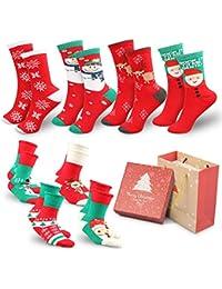 WOSTOO Calcetines de Navidad Lindo de algodón Animal de Dibujos Animados Reno de Santa Claus Antideslizante Unisex 8 Pares…