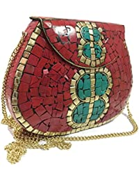 Party Sling Clutch Mosaic Bag Stone Clutch Ethnic Metal Box Bridal Wallet Indian Vintage Bag Party Clutches For... - B07FLMRK57