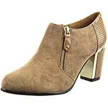 Sopily - Zapatillas de Moda Botines low boots Tobillo mujer piel de serpiente cremallera metálico Talón Tacón ancho alto 7 CM - Caqui