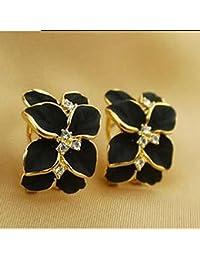 HuaYang 1 Pair Gardenia Fleur d'oreilles en cristal strass(Noir)