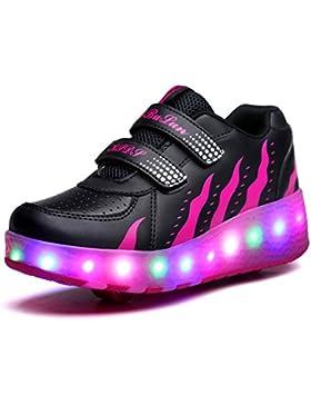 Zapatillas con Dobles Ruedas, Unisex Niños LED Luz Parpadea Deportes Al Aire Libre Gimnasia Automáticamente Retráctiles...