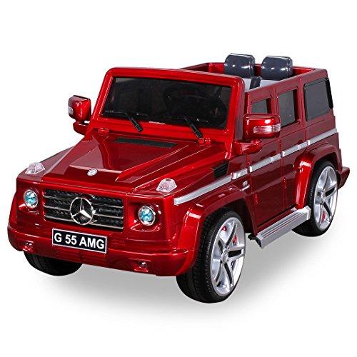 *Original Mercedes Benz AMG G55 inklusive High Door – Leder Sitz – Metallic Lackierung Jeep Lizenz Elektro Kinderauto Kinderfahrzeug Spielzeug (rot)*