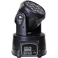 Lightess Luz de Escenario Lámpara de Discoteca 7 LED Lámpara Mover Cabeza 150W con RGBW DMX512, los 9/14 Canales, Mini Luz Giratoria Ultra-brillante para Disco, KTV, Bar, etc, Color Negro