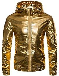 ZIYOU Herren Jacken PU Leather, Luxus Gold Silber Langarm Kapuzenmantel Männer Hip Hop Jacke Pullover