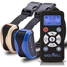 WOLFWILL Collar Adiestramiento para Perros a distancia - 800 yardas impermeable y recargable collar con la automatizaci¨®n ajustable, pitido, vibraci¨®n, linterna para los amantes del perro (2 collars)