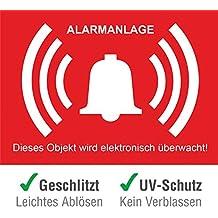 10 Stück + 1 Gratis Premium Aufkleber Alarmgesichert vorgestanzt für Innen & Außen verwendbar der Aufkleber Alarmanlage mit UV Schutz