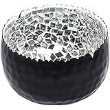 The Esthetic Label Iron And Glass Mirror Mosaic Round Votive Holder (10.25 Cm X 10.25 Cm X 6.25 Cm, Black)