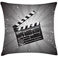 fringcoook Movie Theater - Funda de cojín con diseño de cuadros, 45,7 x 45,7 cm, color gris, negro y blanco