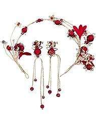 LBTSQ-Boda Novias Red Hand Beads Cabeza Flores Accesorios del Vestido de Boda Vestidos y