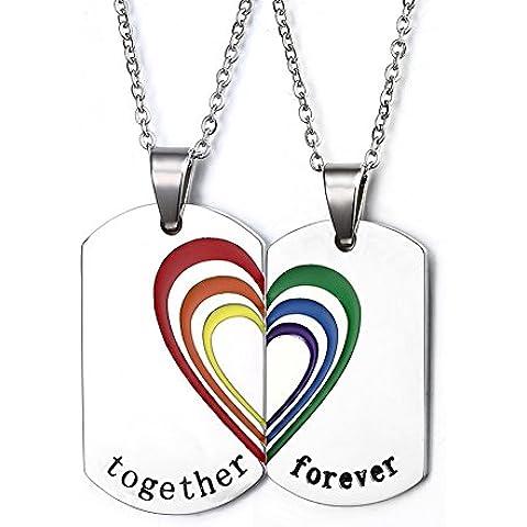 LianDuo Acciaio inossidabile Puzzle cuore di corrispondenza arcobaleno Orgoglio coppia Amore Matrimonio Collana impegno per Gay Lesbiche LGBT,Confezione da 2
