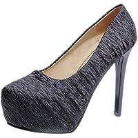 Zapatos slip on del alto talón mujer,Sonnena ❤️ Zapatos de mujer hasta los tobillos Zapatos de boda fondo plano Sexy zapatos de tacones extremadamente altos