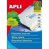 Apli 002000 - Pack de 100 etiquetas para impresora, 38 x 21.2 mm, color blanco