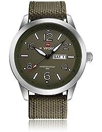 Naviforce reloj de cuarzo analógico–los hombres del deporte militar correa de nailon reloj de pulsera, calendario, indicador de fecha (verde)