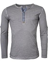 Key Largo Herren Longsleeve Henley langarm T-Shirt mit Knopfleiste Vintage  Look slimfit MLS00016 45797cf5f0