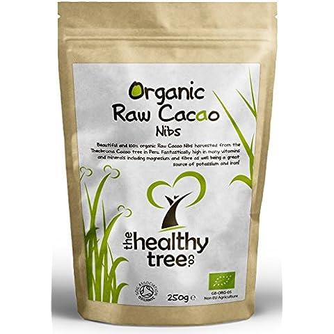 Granos de Cacao Crudos Orgánicas | Superalimento delicioso, apto para vegetarianos y veganos | Alto en magnesio, fibra, potasio y hierro | Certificado de orgánico por la Soil Association | Bolsa de 250g | Plumillas de Cacao por TheHealthyTree Company