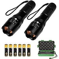 BeGreat Linterna LED brillante, 2 linternas + 6 baterías AAA + 2 soportes de batería, luz de 5 modos, enfoque telescópico, impermeable y ajustada por botón, ideal para ciclismo, cámping, montañismo, senderismo, etc